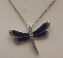 Gorgeous Silver Dragonfly Shape Necklace with Blue Lapis & Diamonds (36J)