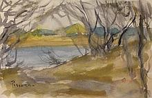 Watercolor on Paper by School of Pissaro (52D)