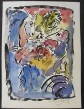Original Watercolor Painting By Marc Chagall