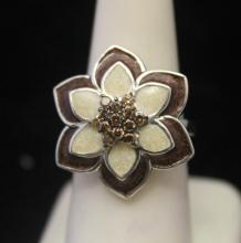 Gorgeous Silver Flower Shape Ring with Mother of Pearl & Cognac Diamonds (132J)