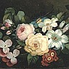French School, Roses Lilies, pinks, painsies, 19th cent
