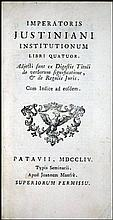[Source of Western Law] Justinian, 1754 1 COPY IN USA