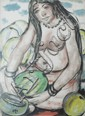 Krishnaji Howlaji Ara (1914-1985), Untitled (Semi-nude Watermelon Seller)