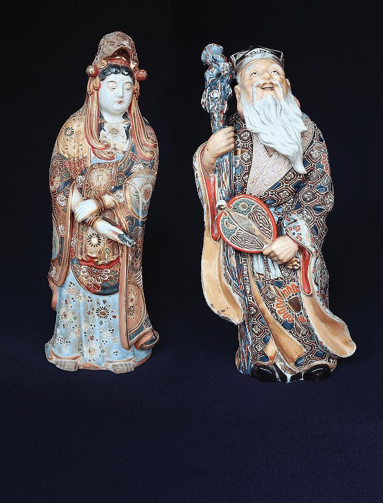 A pair of Royal Satsuma male & female figures