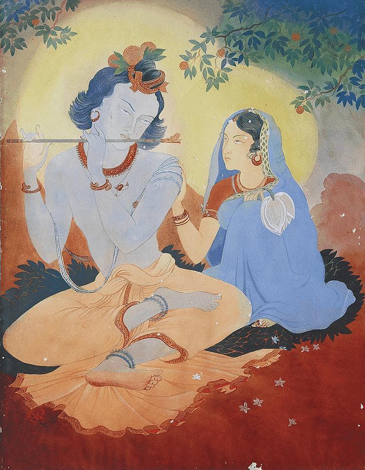 Asit Kumar Haldar (1890 - 1964), Untitled (Radha & Krishna)