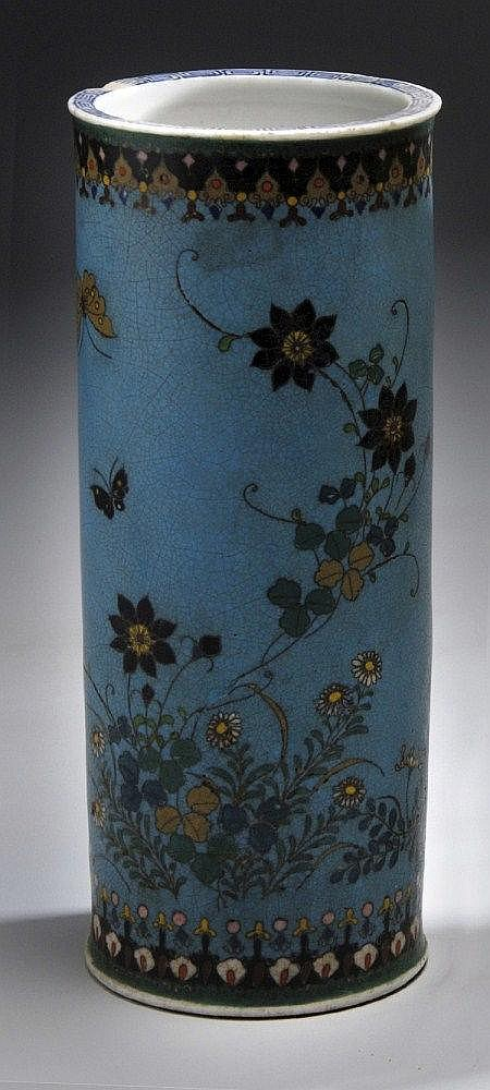 A CLOISONNÉ CYLINDRICAL VASE under glazed with