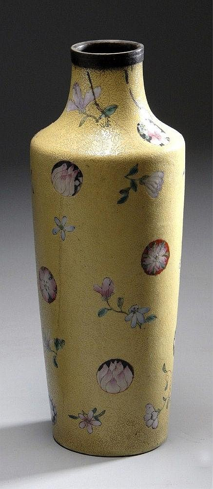 A CHINESE CLOISONNÉ BOTTLE VASE WITH A METAL RIM,