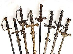 Eight early Masonic & Fraternal swords: two G.F. Foster - one Knights of Pythias and one Independant Order of Odd Fellows; M.C. Lilley & Co , uniform ranks, Knights of Macabees; Demoulth Bros & Co., uniform rank, Woodman of the World - no scabbard;