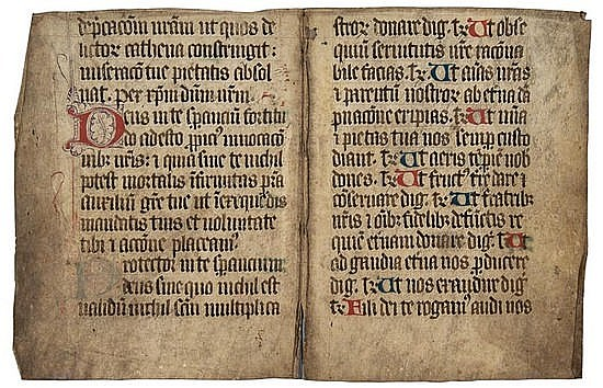 Missal, bifolium, decorated manuscript in Latin,