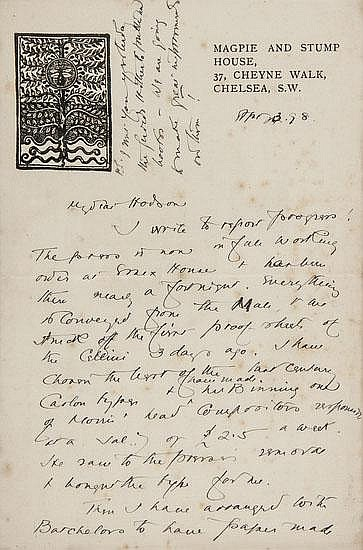 Ashbee (C.R.) Seven autograph letters signed, one