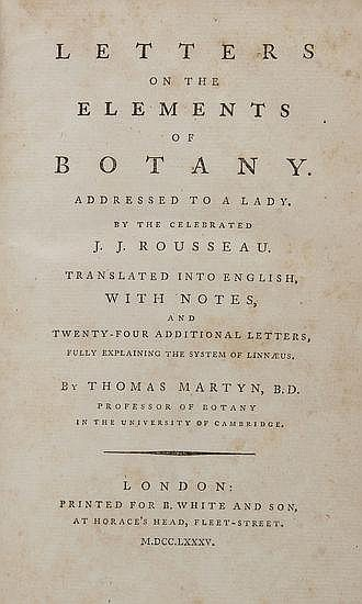 Rousseau (Jean Jacques) Letters on the Elements of
