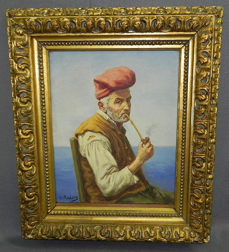 Oil on canvas of pipe smoker. Nicola Ascione