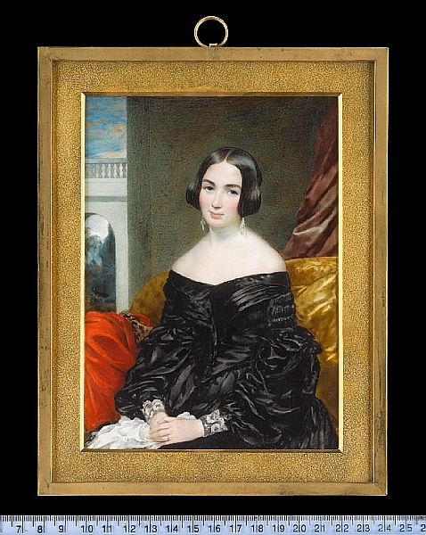 Cornelius Beavis Durham (British, active 1825-1865) A Lady, seated, wearing black dress with puffed sleeves and white lace cuffs, pendent glass drop earrings and wedding ring, she holds a white handkerchief, a vermillion mantle with embroidered