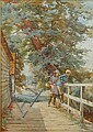 Charles Haigh-Wood (British, 1856-1927) Children fishing from a bridge, Charles Haigh-Wood, Click for value