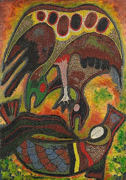 Chief Jimoh Buraimoh (Nigerian, born 1943) Birds taking the giwa rua (elephant of the river)