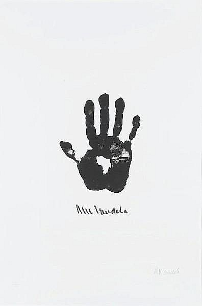 Nelson Rolihlahla Mandela (South African, born 1918) Hand of Africa (Right Hand) (image size)
