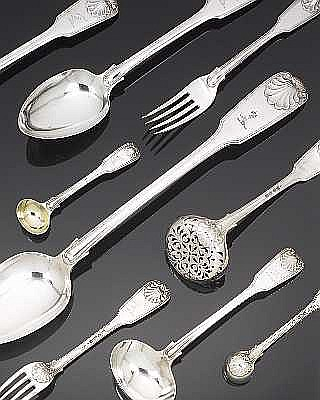 A 19th century silver matched part table service of Fiddle, Thread and Shell flatware, the majority by George Adams, London 1832-73,