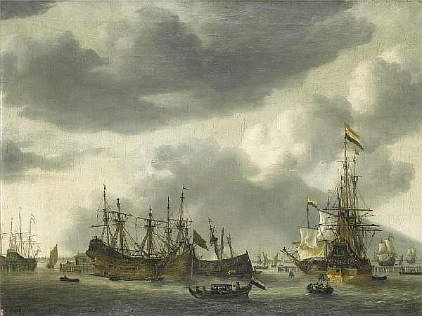 Regnier Nooms, called Zeeman (Amsterdam 1623-1667) Dutch shipping at anchor in a calm