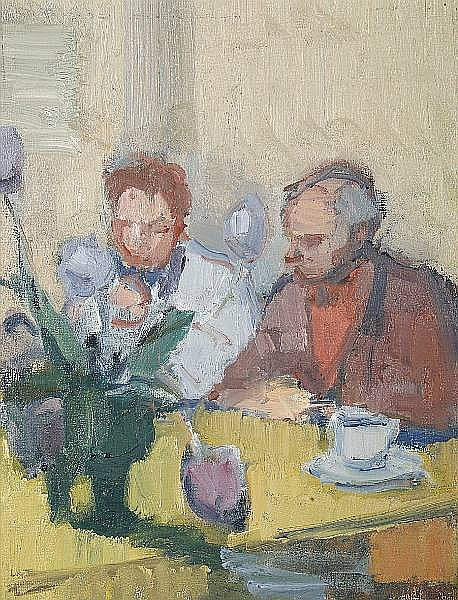 Michael Salaman (British, 1911-1991) Tea with tulips - Raymond Coxon and John Dodgeson