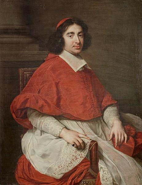 Attributed to Pierre Mignard (Troyes 1612-1695 Paris) Portrait said to be of Jean-François-Paul de Gondi, Cardinal de Retz (1613-1679),three-quarter-length, in cardinal's robes, seated beside a column in an interior