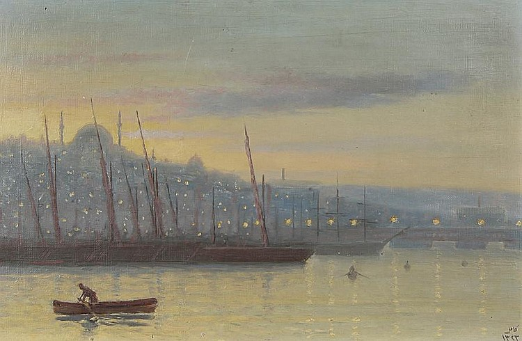 Halid Naci (Turkish, 1875-1921) The Bosphorus at night