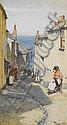 Walter Langley, R.I. (British, 1852-1922) A Newlyn street scene 46 x 24.5 cm. (18 1/8 x 9 5/8 in.)