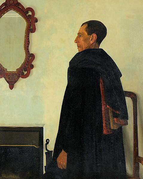 Ann Fearon Walke (British, 1890-1965) Portrait of a gentleman in a Spanish cloak (Reverend Bernard Walke) 127 x 101.5 cm. (50 x 39 15/16 in.)