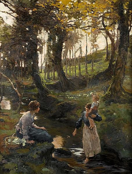 Elizabeth Adela Stanhope Forbes, A.R.W.S. (Canadian, 1859-1912) The Ford 107 x 82 cm. (42 1/8 x 32 5/16 in.)