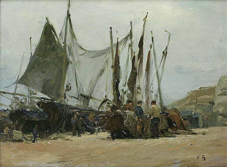 Attributed to Frank Bramley, R.A. (British, 1857-1915) Drying the nets