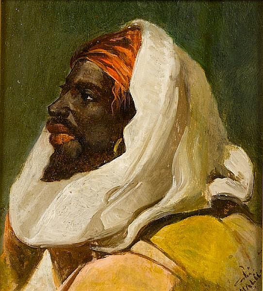 Halid Naci (Turkish, 1875-1921) Head study of an Arab