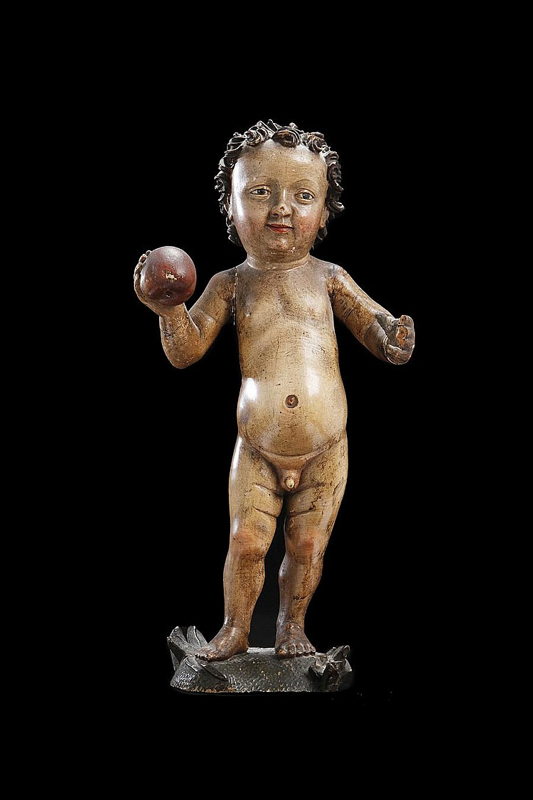 Manner of Tilman Riemenschneider, German (c.1460-1531) An early 16th century Swabian carved wood and polychrome decorated figure of the Christ Child