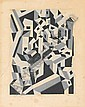 Edward Wadsworth (British, 1889-1949) Riponelli, a village in Lemnos Woodcut, 1917, printed in light and dark grey and black, on cream wove, 100 x 75mm (3 7/8 x 2 78in)(B)(unframed)