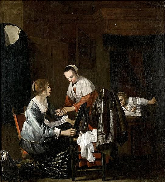 Circle of Cornelis Bisschop (Dordrecht 1630-1674) An elegant interior with a cloth seller