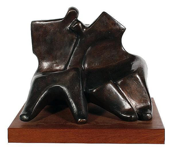 Laurence Anthony Chait (South African, born 1943) 'Lean on me' 33 x 41 x 24cm (13 x 16 1/8 x 9 1/2in).