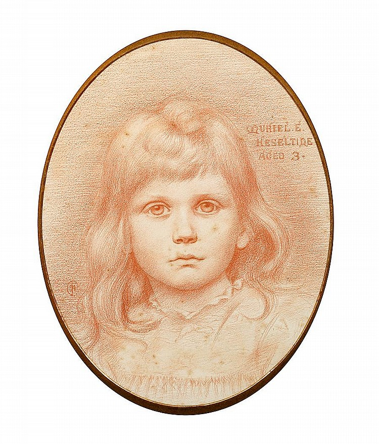 Attributed to Charles Fairfax Murray (British, 1849-1919) A portrait study of a young girl, Muriel E. Heseltine, aged 3 (oval)