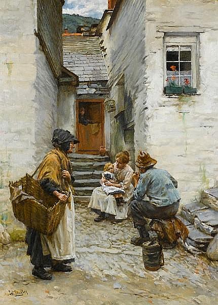 Walter Langley, RI (British, 1852-1922) Cornish fisherfolk