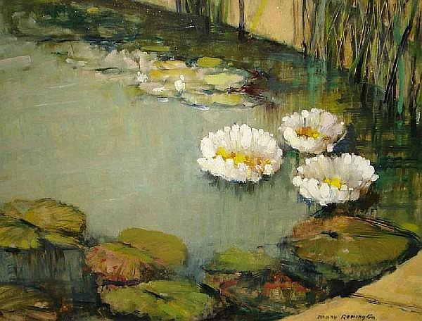 Mary Remington (British, 1910-?) Waterlilies in the pool 36cm x 45cm.
