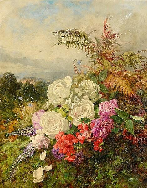 Anne Ferray Mutrie (British, 1826-1893) Summer flowers on a mossy bank, a landscape beyond