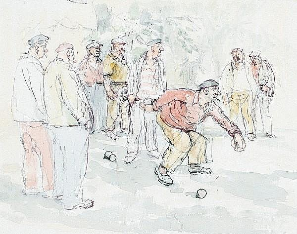 Roland Batchelor (British, 1889-1990) Playing boules