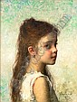 Alexei Alexeevich Harlamoff (Russian, 1840-1925) Young girl before a blue background