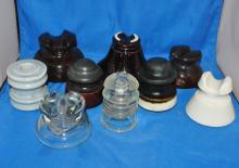 LOT OF 9 VINTAGE GLASS/CERAMIC INSULATORS