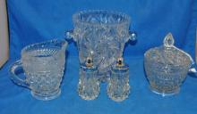 LOT OF GLASS:LEAD CRYSTAL ICE BUCKET ENGRAVED STAR
