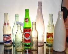LOT OF 8 COLLECTOR SODA BOTTLES