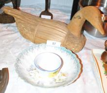 DECOR WOOD HAND CARVED DUCK