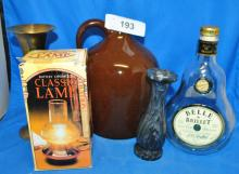 LOT OF MISC GLASS MUSIC JUG AND VASES