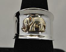 .925 & 10KY Elephant cigar band ring. The