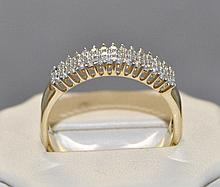 14KY Gold Three row Diamond band. The band
