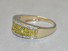 14KY Gold Fancy Yellow & White Diamond Band. This