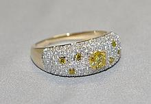 14KY Gold Fancy Yellow & White diamond Ring. This