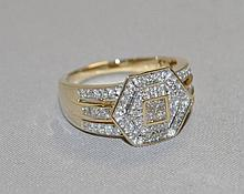 14KY Gold Princess Cut & round diamond ring. The